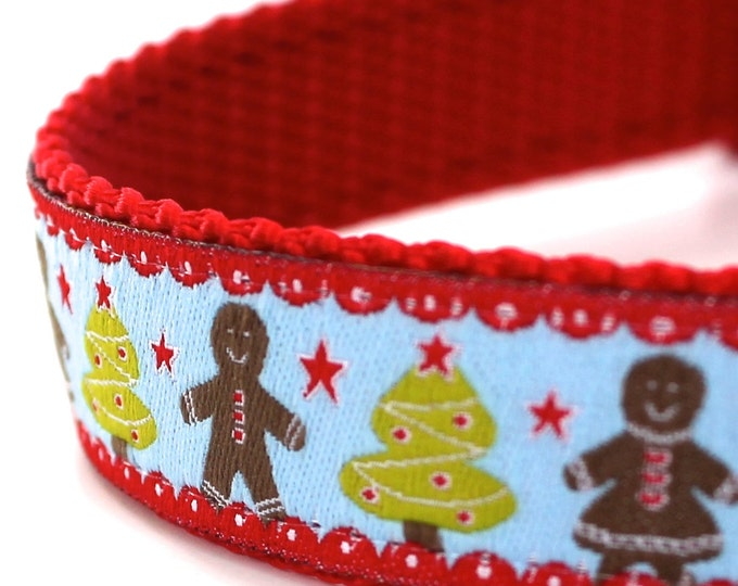 Gingerbread Man Dog Collar, Blue Ribbon Dog Collar,  Adjustable, Christmas, Holiday, Cookies Pet Collar