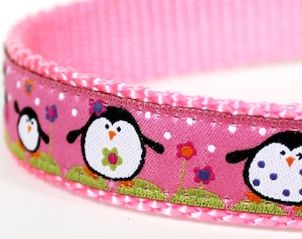 QUICK SHIP Happy Penguins Dog Collar on Pink / Adjustable Dog Collar / Pink