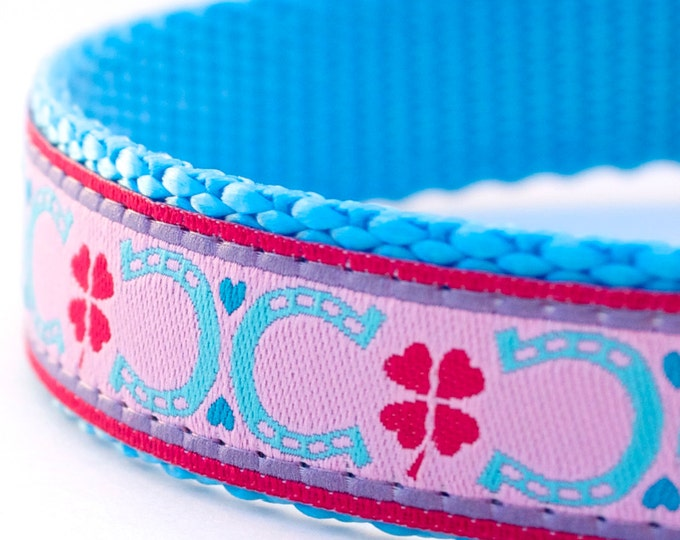 Lucky Dog Collar, Pink Ice Blue Horseshoe Pet Collar,  Adjustable Ribbon Pet Collar