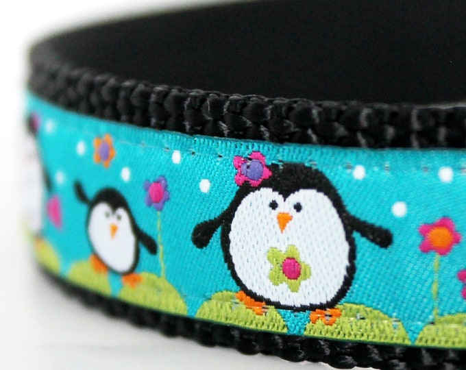 Happy Penguin Dog Collar on Turquoise, Christmas Pet Collar, Holiday Winter Collar