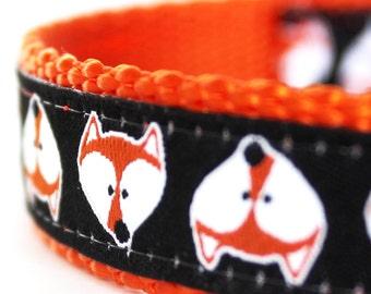 Fox Faces Dog Collar, Adjustable Dog Collar,  European Ribbon Collar