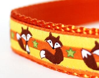 Fox and Stars Dog Orange and Yellow Adjustable Dog Collar