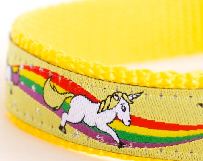 QUICK SHIP Magical Unicorns Dog Collar, Yellow Dog Collar, Rainbow Pet Collar, Girl Adjustable Ribbon Collar