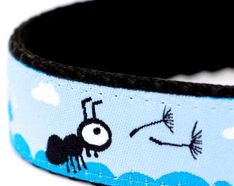 Ants and Dandelion Dog Collar, Ribbon Adjustable Pet Collar, Blue Pet Collar, Cloud and Sky