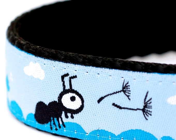 Ants and Dandelion Dog Collar, Ribbon Adjustable Pet Collar, Blue Pet Collar, Cloud and Sky