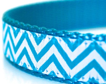 Chevron Blue Dog Collar, Adjustable Pet Collar, Ribbon Dog Collar, Tribal