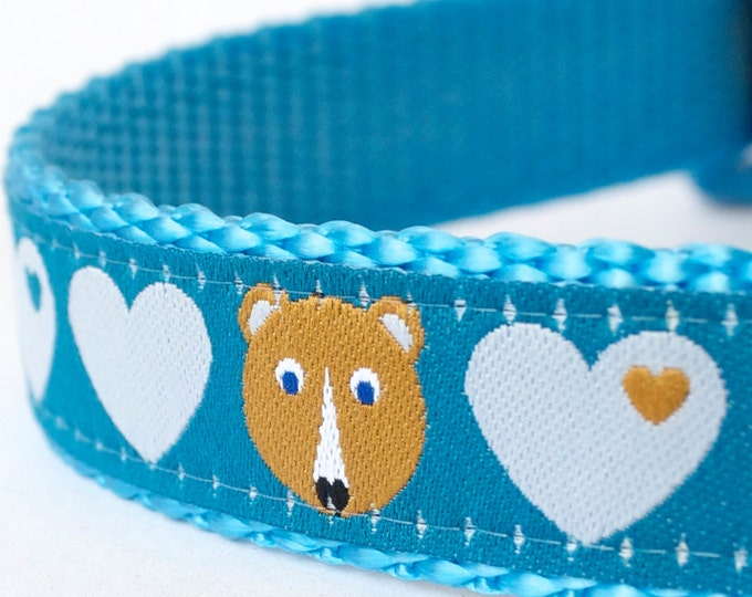 Fox and Bears Hearts Dog Collar, Teal Blue , Adjustable Pet Collar, Forest Friends Pet Collar