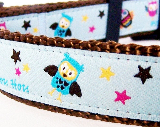 Hoots and Stars Dog Collar , Adjustable Dog Collar, Blue Dog Collar