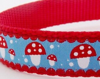 Modern Mushrooms Dog Collar, Blue Red Pet Collar, Adjustable