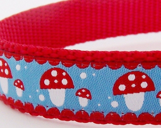 Modern Mushrooms Dog Collar, Blue Red Pet Collar, Adjustable