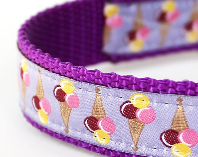 Lavender Ice Cream Cones, Adjustable Purple Ribbon Collar, Summer Dog Collar, Dessert Dog Collar