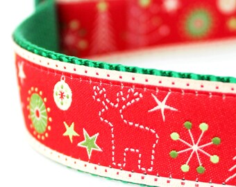 Christmas Stitches Dog Collar, 1 inch width,  Holiday Dog Collar,  Big Dog Collar, Reindeer