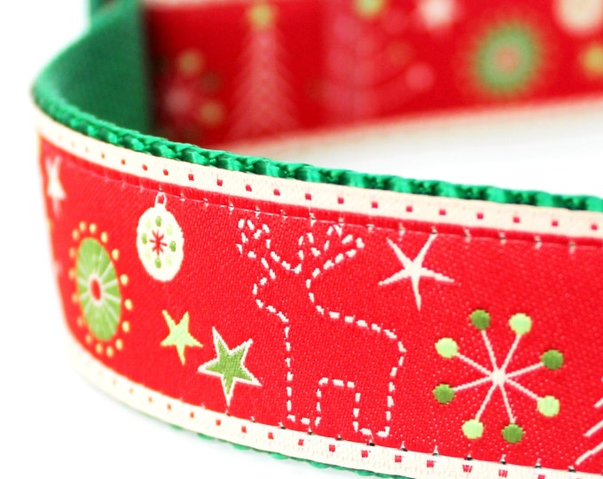 Christmas Stitches Dog Collar, 1 inch width,  Holiday Dog Collar,  Big Dog Collar, Reindeer