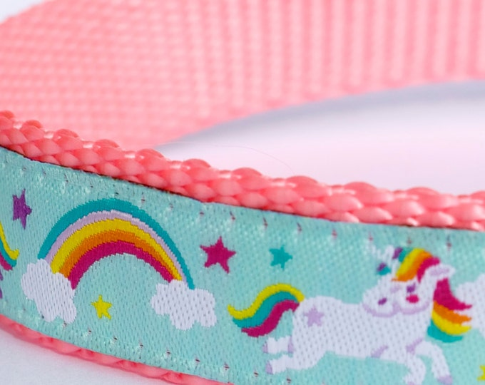 Unicorns and Rainbows Dog Collar, Aqua Fairytale Pet Collar, Magical