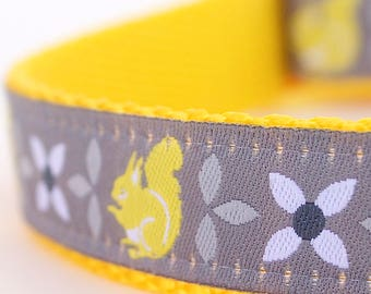 Yellow Squirrel Adjustable Spring Dog Collar, European Woven Ribbon Dog Collar