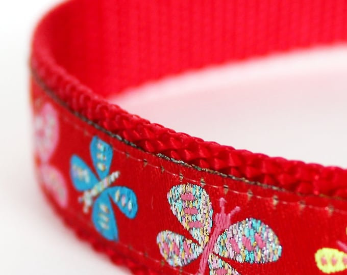 Glitter Butterfly Dog Collar,  Ribbon Adjustable Pet Collar, Red Pet Collar