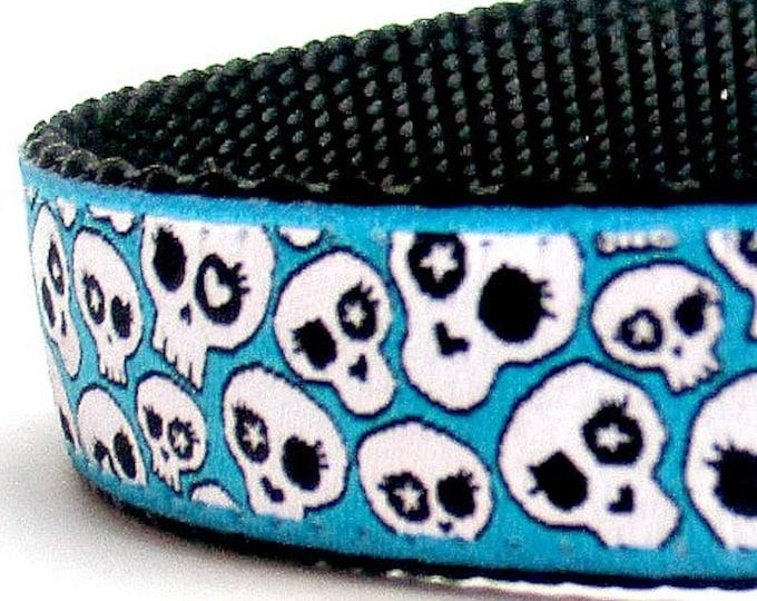Skulls in Teal Blue Dog Collar, Rockstar Pet Collar, Adjustable Ribbon Dog Collar, Sugar Skulls, Halloween Dog Collar