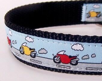 Motorcycle Dog Collar, Blue Pet Collar, Boy Dog Collar, Motor Bike Collar