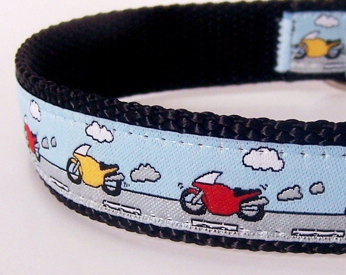 Motorcycle Dog Collar, Blue Pet Collar, Boy Dog Collar, Motor Bike Collar