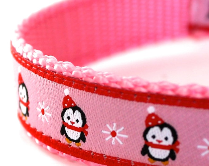 Pink Penguin Holiday Dog Collar, Ribbon Dog Collar, Adjustable, Christmas Dog Collar