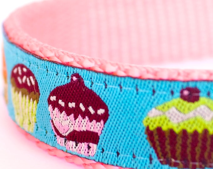 QUICK SHIP Colorful Cupcakes Dog Collar, Teal Ribbon on pink webbing, Muffins, Adjustable Pet Collar