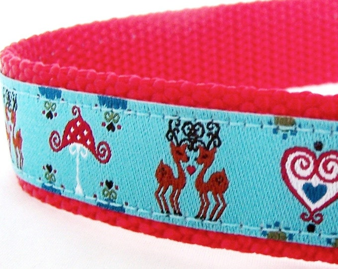 Reindeer and Hearts Dog Collar, Holiday Pet Collar, Christmas