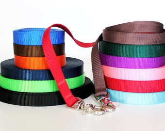 Naked Dog Leash, Nylon Webbing Pet Lead, 5/8 inch, 3/4 inch, 1 inch, Pick your Length 3, 4, 5, or 6 feet