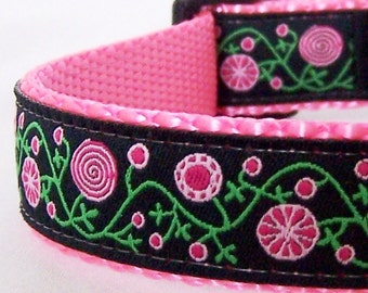 Peppermint Gardens Pretty Floral Adjustable Dog Collar