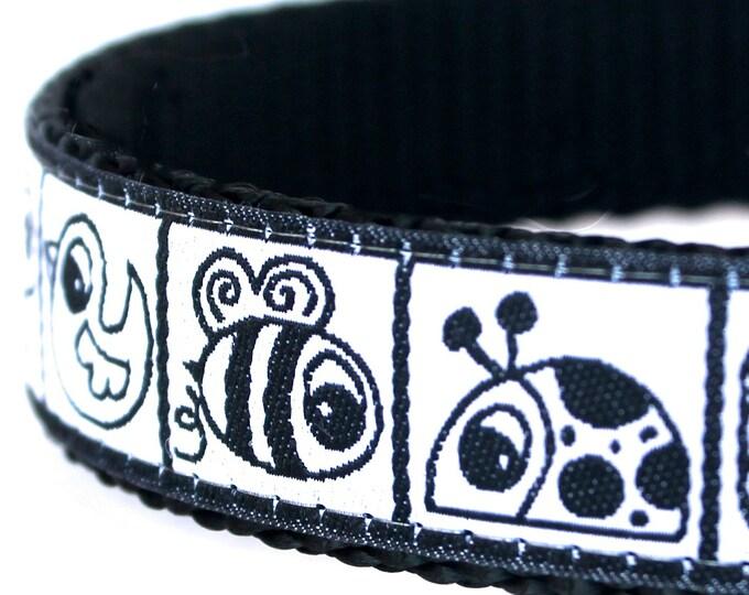 Black White Garden Creatures Dog Collar / Adjustable Dog Collar/ European Ribbon Collar