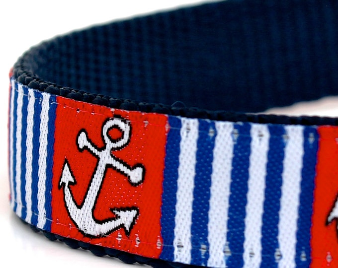 Anchor Dog Collar, Red White Blue Pet Collar, Nautical, Preppy