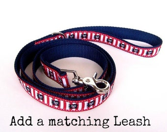 Ribbon Dog Leash, Matching Pet Lead, 5/8 inch width, 3/4 inch width, 1 inch, Pick Your Length 3, 4, 5, 6 feet