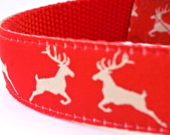 Winter Deer Dog Collar, Holiday Christmas Dog Collar, Red Pet Adjustable Dog Collar, Forest Friends