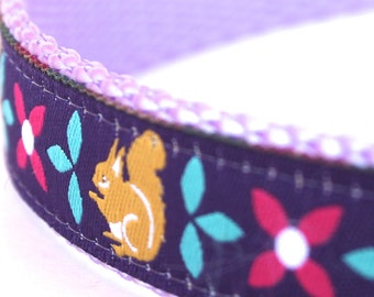 Purple Squirrel Adjustable Dog Collar, European Ribbon Fall Dog Collar