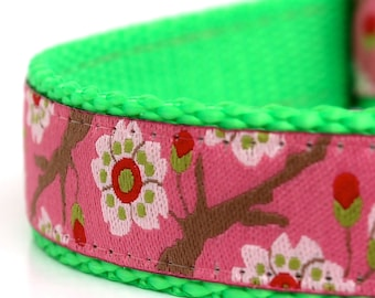 Hot Pink Cherry Blossoms Red Dog Collar, Adjustable Dog Collar