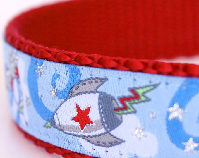 Rocket Man Dog Collar, Outer Space Ribbon Pet Collar, Blue Boy Dog Collar