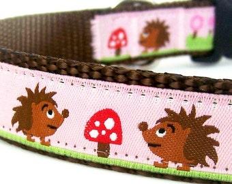 Hedgehogs in the Garden Dog Collar, Pink European ribbon. Girl Dog Collar, Forest Friends
