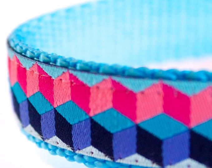 Pretty Cubes Dog Collar, Geometric Pet Collar, Pink
