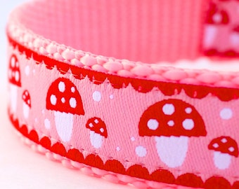 QUICK SHIP Modern Mushrooms Dog Collar, Pink Pet Collar, Adjustable, Ribbon dog collar