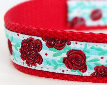 Red Roses Shabby Chic Adjustable Dog Collar, European Woven Ribbon Dog Collar