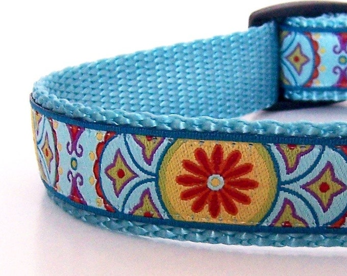 Red Flower Dog Collar, Bohemian Dog Collar, Summer Dog Collar, Adjustable Dog Collar, Henna Dog Collar