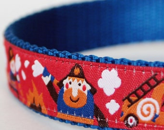 Firemen on the Go Dog Collar, Adjustable, Ribbon Dog Collar, Fireman Dog Collar, Boy Dog Collar
