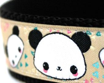 Panda Dog Collar, Adjustable Ribbon Dog Collar, Jungle Animal Dog Collar