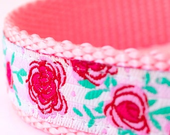 QUICK SHIP Rose Gardens Dog Collar, Shabby Chic Pet Collar, Cottage Chic Pink Collar