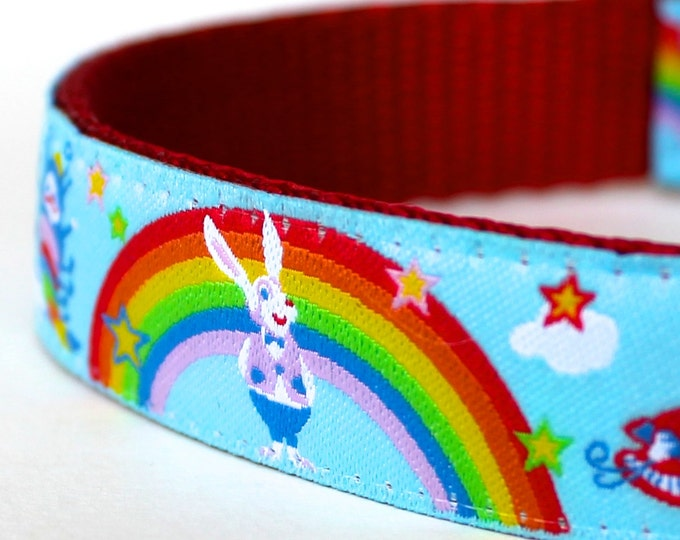 Alice In Wonderland Dog Collar, Rainbow Dog Collar, Fairy tale Dog Collar, Adjustable Dog Collar, Unique Dog Collar, Rabbit Dog Collar