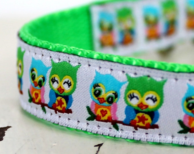 Retro Owls Dog Collar / Adjustable Pet Collar, Cute Owl Collar, Ribbon Dog Collar