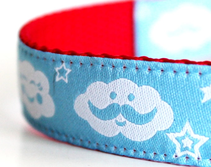 Mustache Clouds Dog Collar / Adjustable Dog Collar / European Ribbon Collar