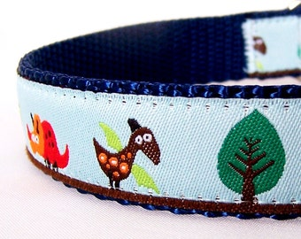 Dinosaur Dog Collar, Adjustable dog collar,  Ribbon Pet Collar, Blue
