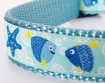 Under the Sea Dog Collar, Fish and Seashells, Nautical Pet Collar, Ocean Dog Collar