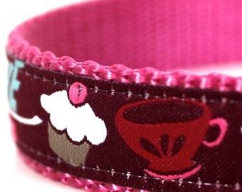 Cupcake Love Dog Collar, European Ribbon Dog Collar, Adjustable, Girl Pet Collar