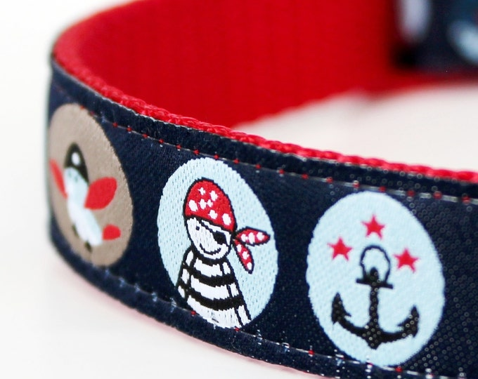 Pirate Circles Dog Collar / Pet Accessories / Adjustable / Up to size Small